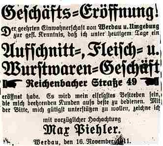 Anzeige der Geschäftseröffnung in der Reichenbacher Straße 49 im November 1911